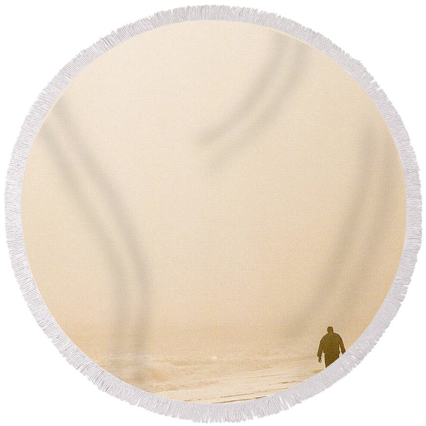 Landscape Round Beach Towel featuring the photograph Out Of The Mist by Steve Karol