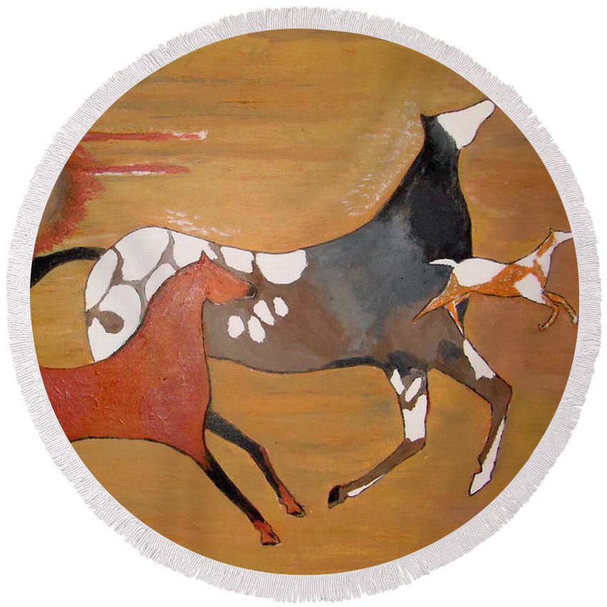 Horses - Stick Figures Round Beach Towel featuring the painting Out Of The Past by Stephanie Moore