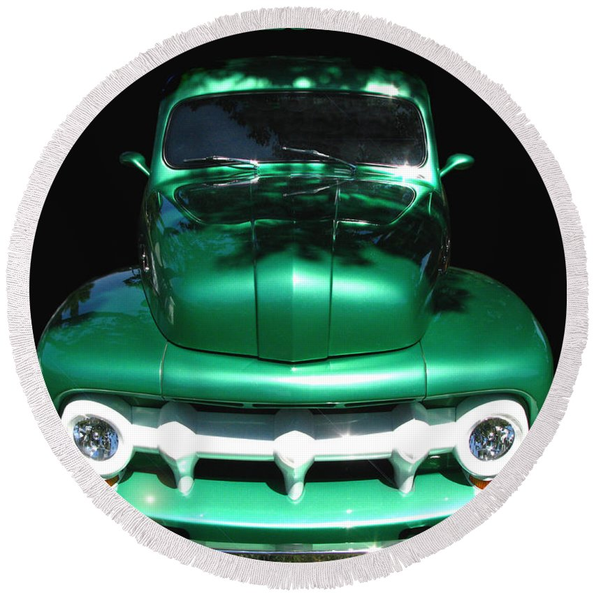 Out Of The Shadows Round Beach Towel featuring the photograph Out Of The Shadows - 51 F100 Ford by Peter Piatt