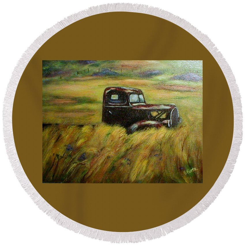 Vintage Truck Round Beach Towel featuring the painting Out To Pasture by Gail Kirtz
