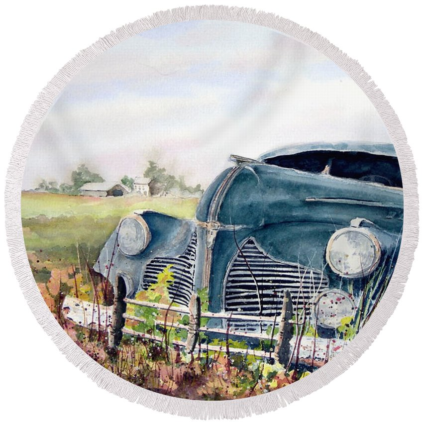 Classic Car Round Beach Towel featuring the painting Out To Pasture by Sam Sidders