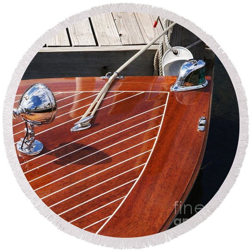 Boat Round Beach Towel featuring the photograph Outboard Runabout by Neil Zimmerman
