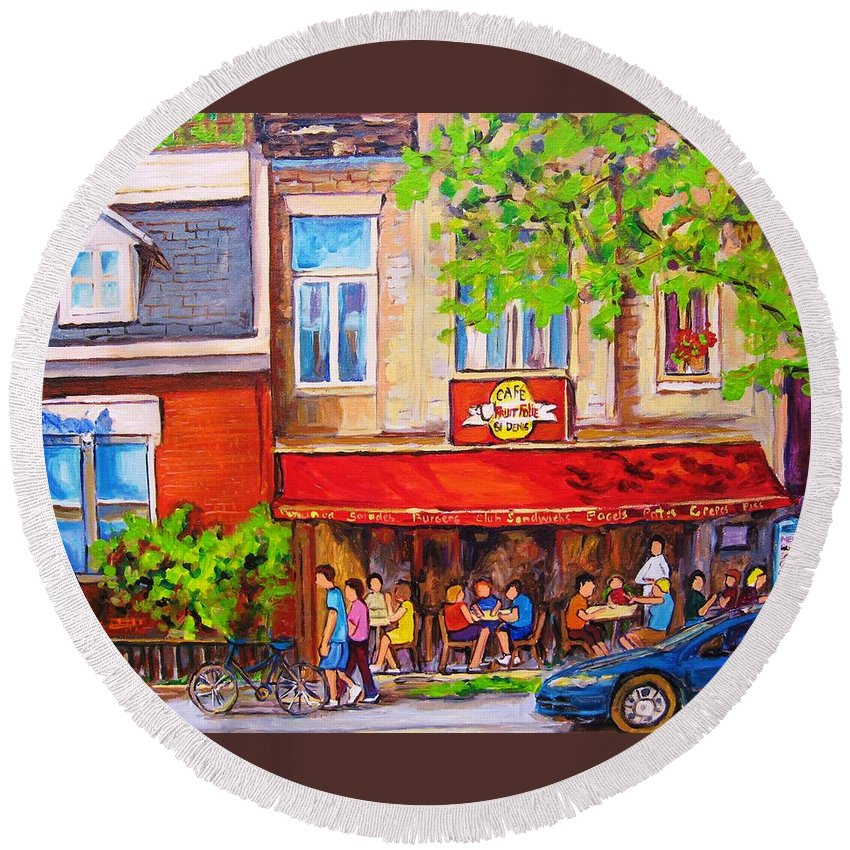 Montreal Round Beach Towel featuring the painting Outdoor Cafe by Carole Spandau