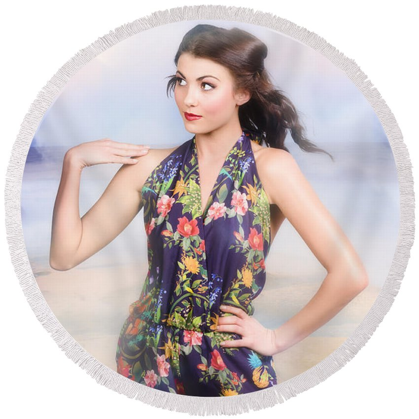 Fashion Round Beach Towel featuring the photograph Outdoor Fashion Portrait. Spring Twilight Beauty by Jorgo Photography - Wall Art Gallery