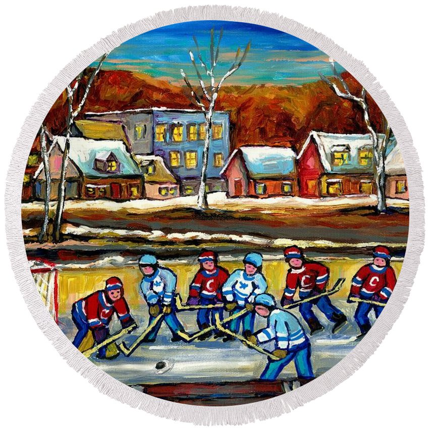 Country Hockey Rink Round Beach Towel featuring the painting Outdoor Hockey Rink by Carole Spandau