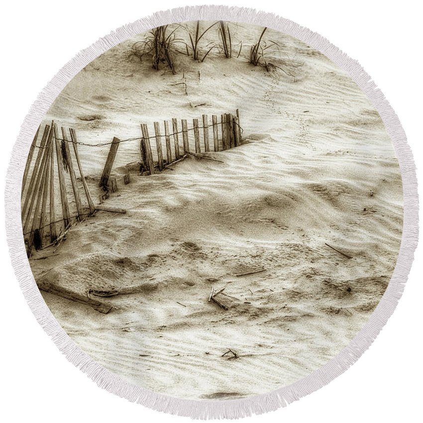 Sand Round Beach Towel featuring the photograph Outer Banks Beach Sand Fence by Randy Steele