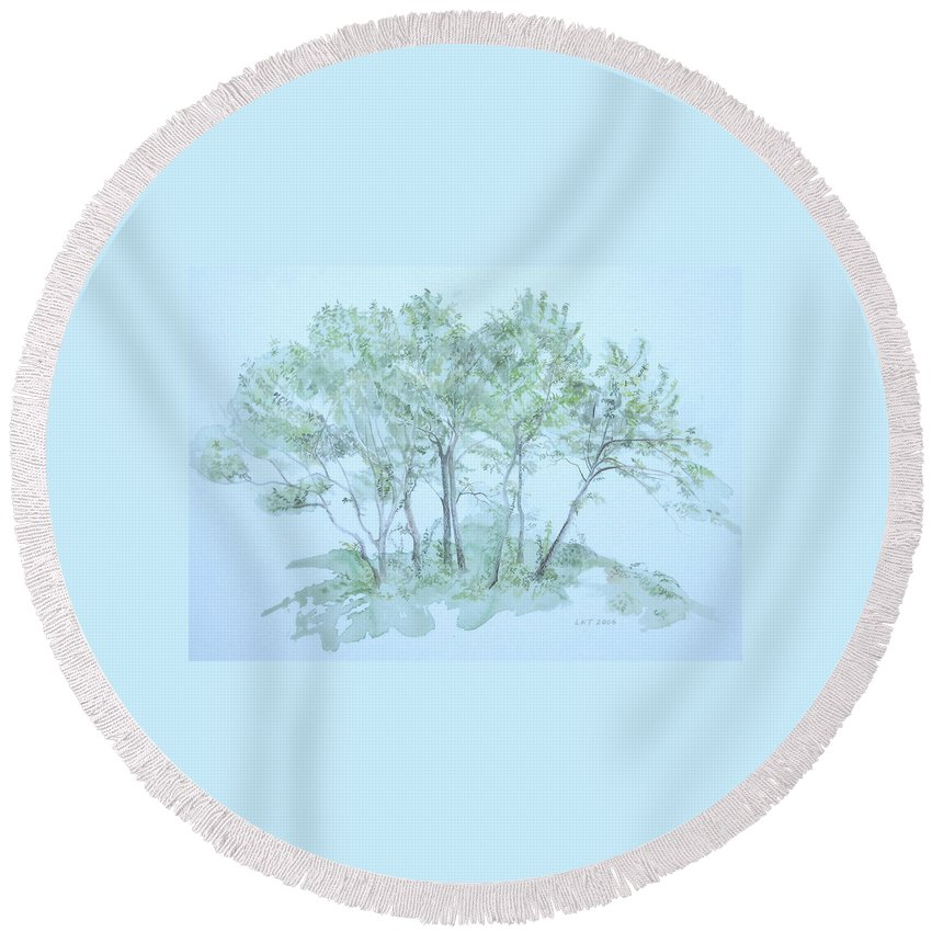 Trees Round Beach Towel featuring the painting Outer Banks by Leah Tomaino