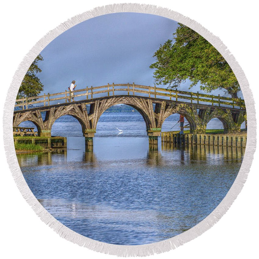 Summer Round Beach Towel featuring the photograph Outer Banks Whalehead Club Bridge by Randy Steele