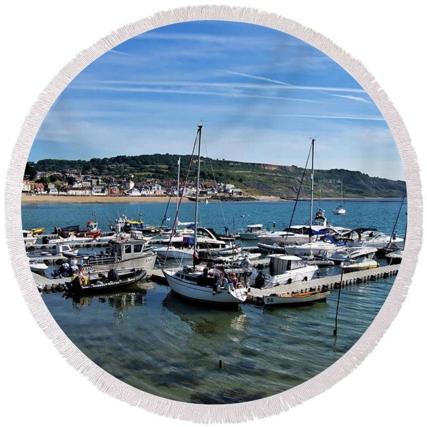 Harbour Round Beach Towel featuring the photograph Outer Harbour - Lyme Regis by Susie Peek