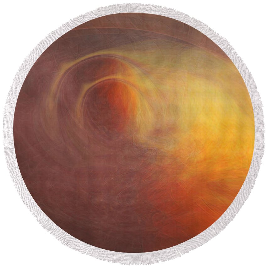 Space Art Round Beach Towel featuring the digital art Outerspace by Linda Sannuti