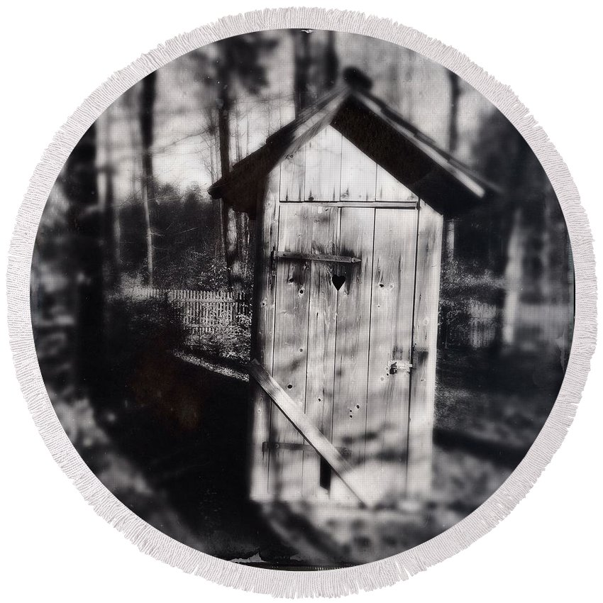 Outhouse Round Beach Towel featuring the photograph Outhouse black and white wetplate by Matthias Hauser