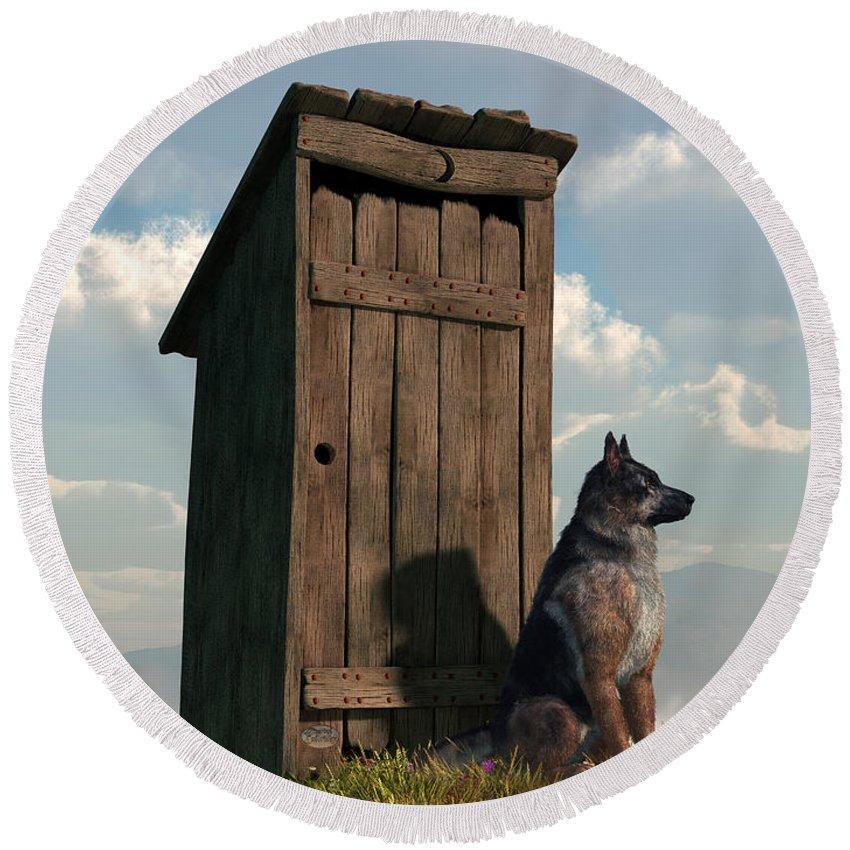 Dog Round Beach Towel featuring the digital art Outhouse Guardian - German Shepherd Version by Daniel Eskridge