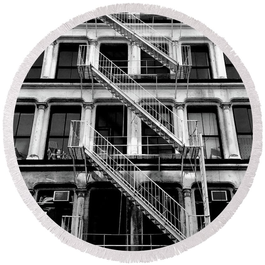 Fire Escape Round Beach Towel featuring the photograph Outside Stairs by John Donnery