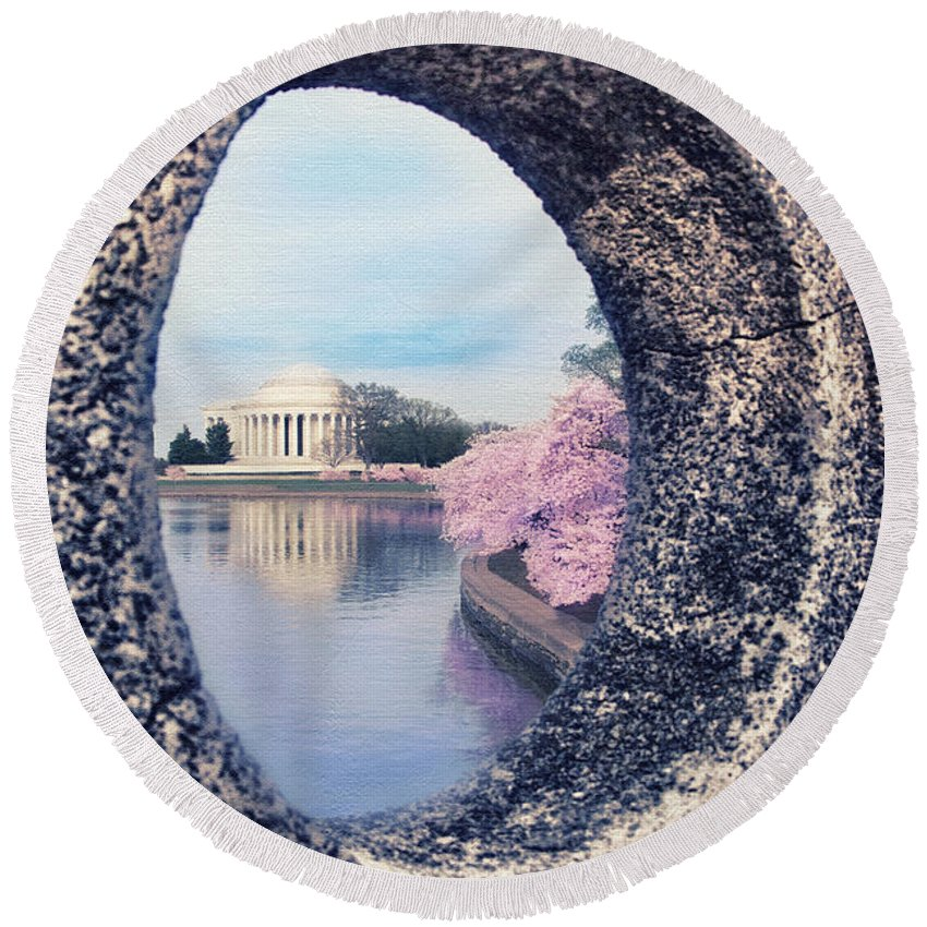 Cherry Blossom Round Beach Towel featuring the photograph Outside Your Door by Iryna Goodall