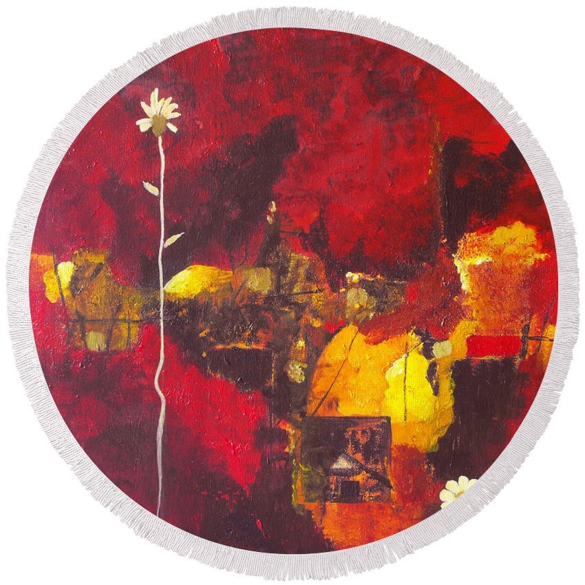 Abstract Round Beach Towel featuring the painting Over The Broken Fence by Ruth Palmer