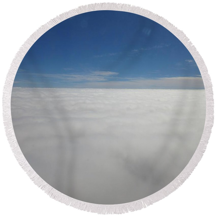 Over Round Beach Towel featuring the photograph Over The Clouds by Frederick Holiday