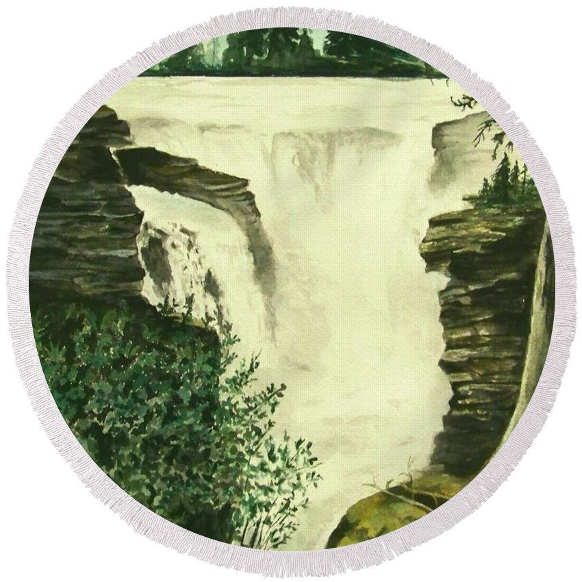 Landscape Watercolor Waterfall Scenic Scenery Landscape Rocks Trees Moss Round Beach Towel featuring the painting Over The Edge by Brenda Owen