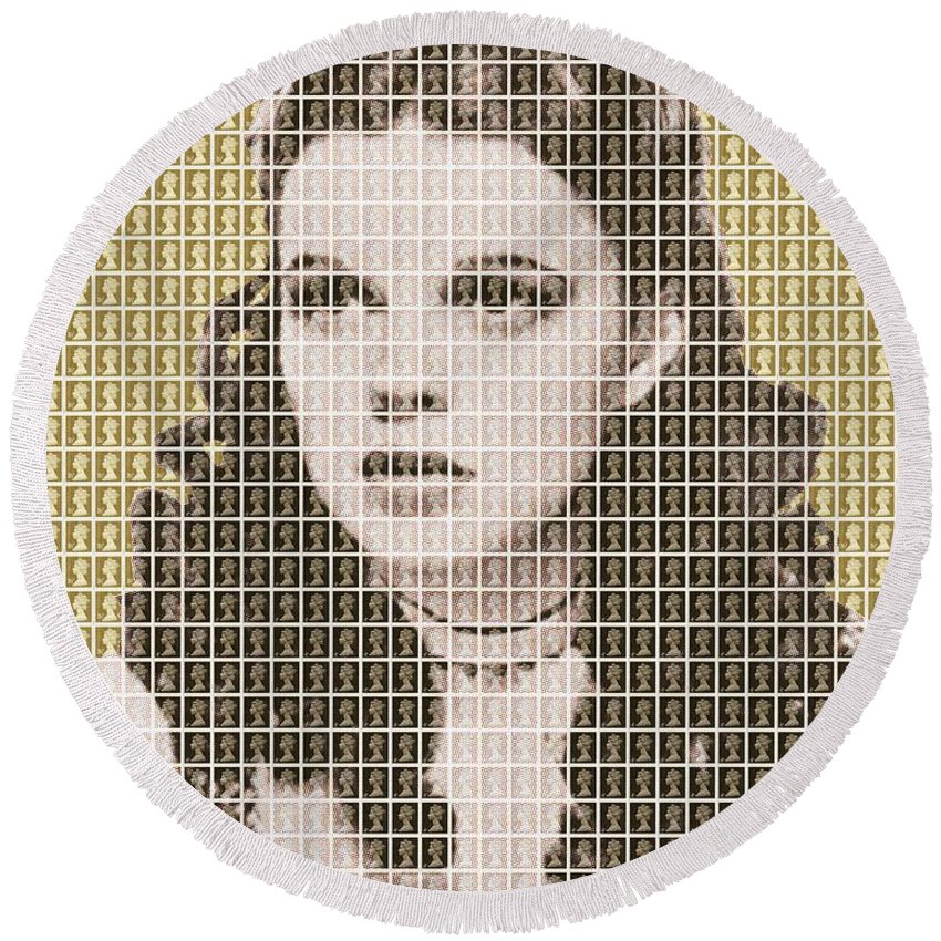 Judy Garland Round Beach Towel featuring the painting Over The Rainbow Gold by Gary Hogben