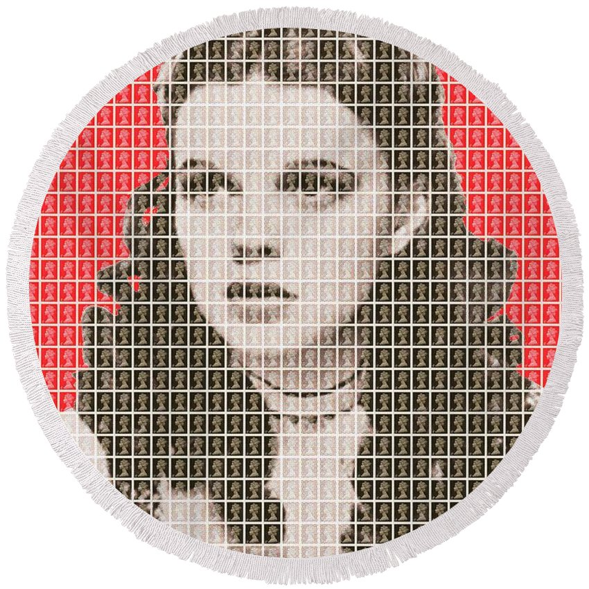 Judy Garland Round Beach Towel featuring the painting Over The Rainbow Red by Gary Hogben