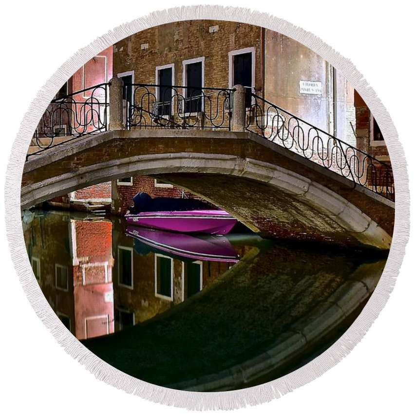 Venice Round Beach Towel featuring the photograph Over The River And Through The Buildings by Frozen in Time Fine Art Photography