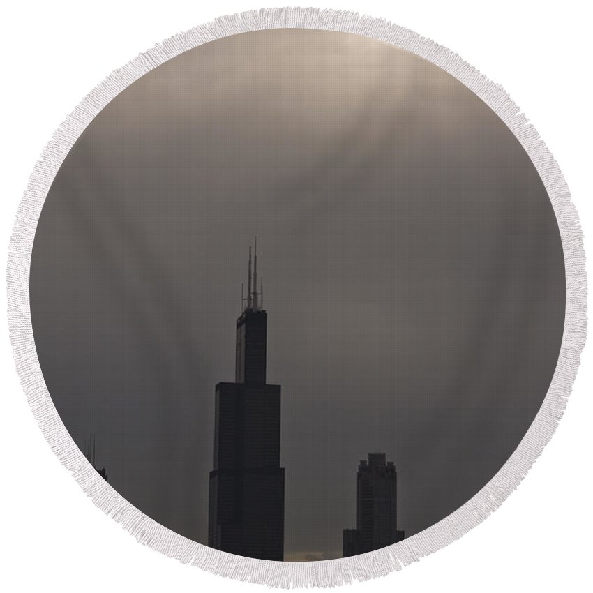 Chicago Windy City Skyline Skyscraper Willis Tower Sears Urban Metro Sun Cloud Cloudy Round Beach Towel featuring the photograph Over The Willis Tower by Andrei Shliakhau