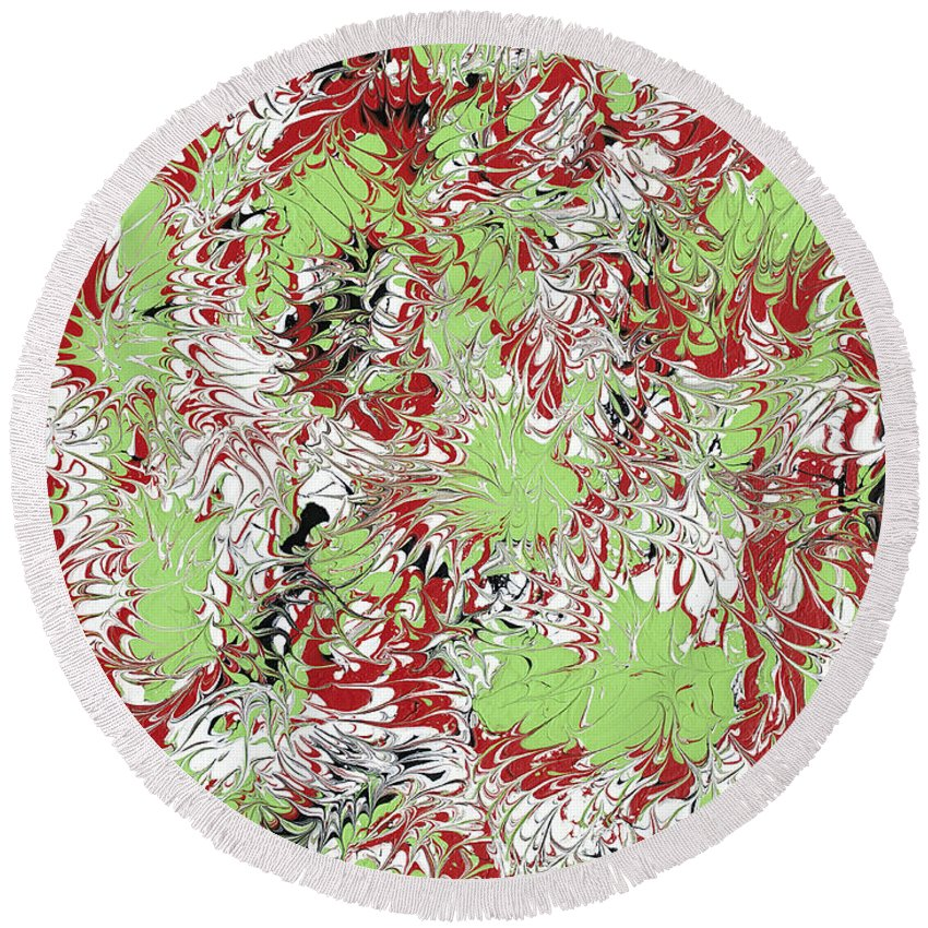 Keith Elliott Round Beach Towel featuring the painting Overactive Christmas Celebration - V1db100 by Keith Elliott