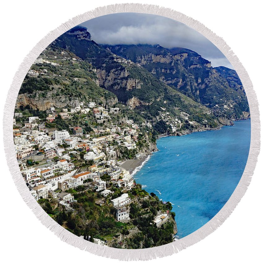 Amalfi Coast Round Beach Towel featuring the photograph Overall View Of Part Of The Amalfi Coast In Italy by Richard Rosenshein
