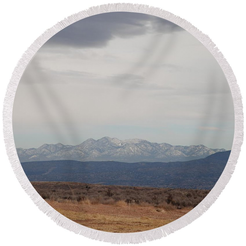 Mountains Round Beach Towel featuring the photograph Overcast On The Sandias by Rob Hans