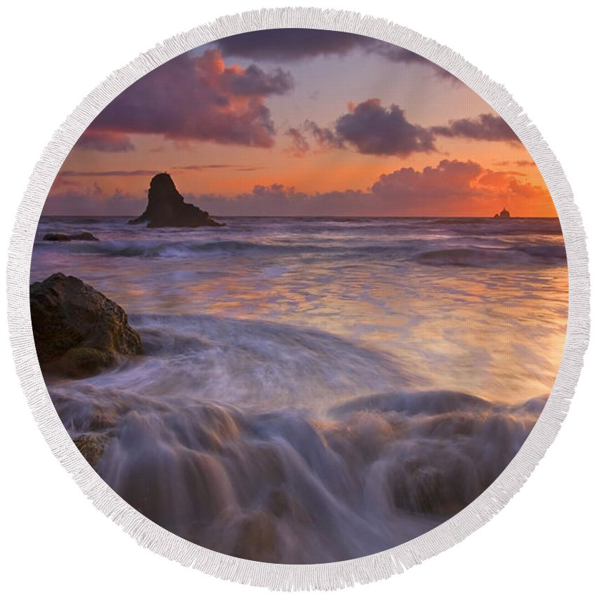 Sunset Round Beach Towel featuring the photograph Overcome by Mike Dawson
