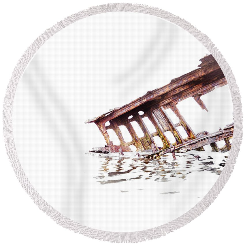 Peter Iredale Round Beach Towel featuring the photograph Overexposed Peter Iredale by Kay Brewer