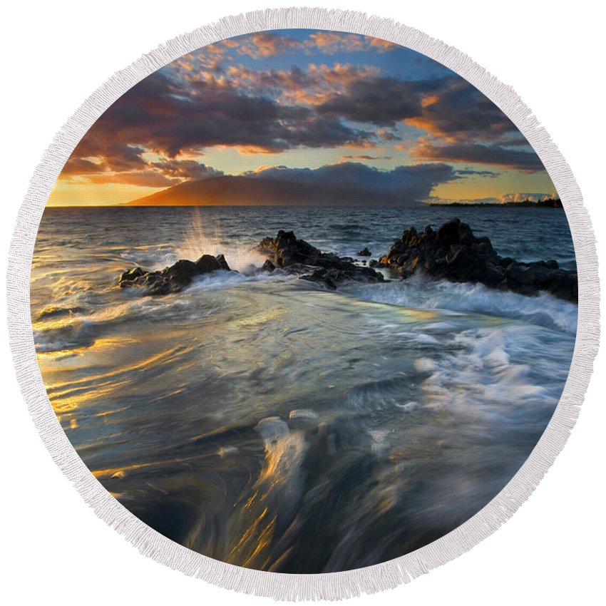 Cauldron Round Beach Towel featuring the photograph Overflow by Mike Dawson