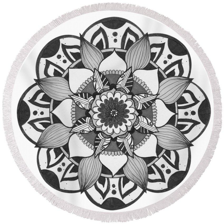 Mandala Round Beach Towel featuring the drawing Overlay by Alyssa Baird
