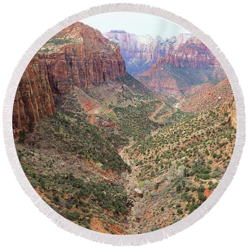 Landscape Round Beach Towel featuring the photograph Overlook Canyon by Sue Collura