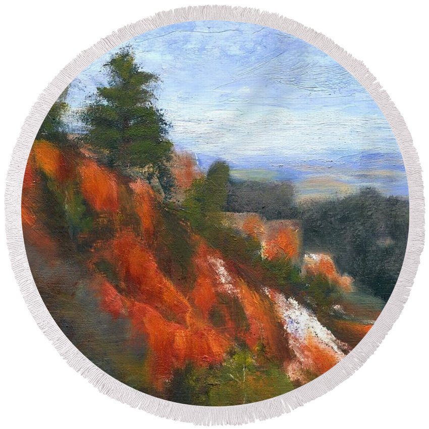 Southwest Round Beach Towel featuring the painting Overlook by Gail Kirtz
