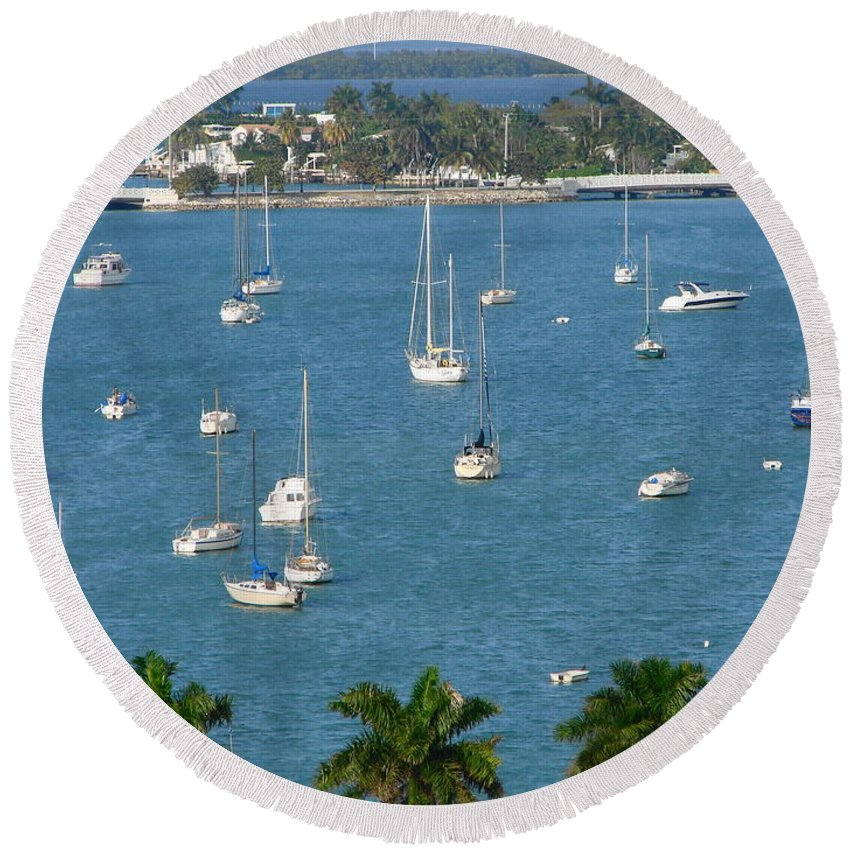 Landscape Round Beach Towel featuring the photograph Overlooking A Miami Marina by Margaret Bobb