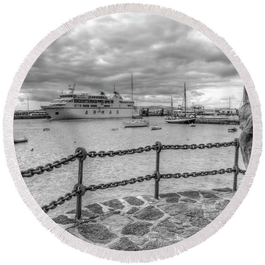 Playa Blanca Round Beach Towel featuring the photograph Overlooking Playa Blanca Harbour by Gerry Greer