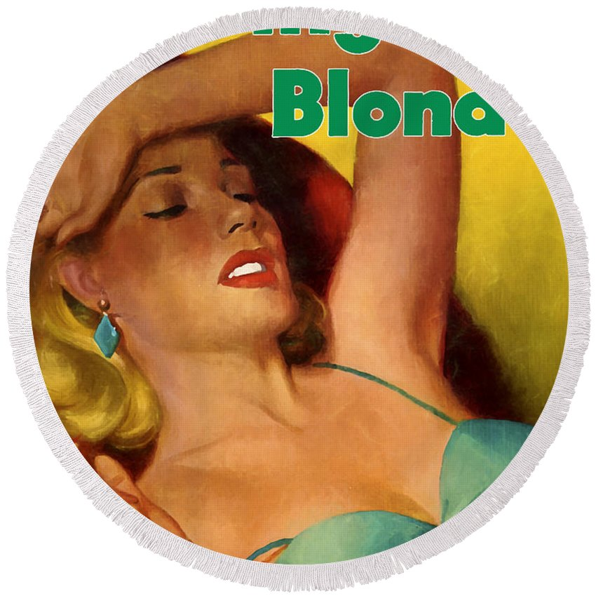 Blond Round Beach Towel featuring the painting Overnight Blonde by Dominic Piperata