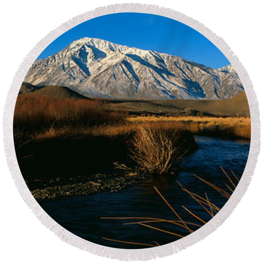 Photography Round Beach Towel featuring the photograph Owens River Valley Bishop Ca by Panoramic Images