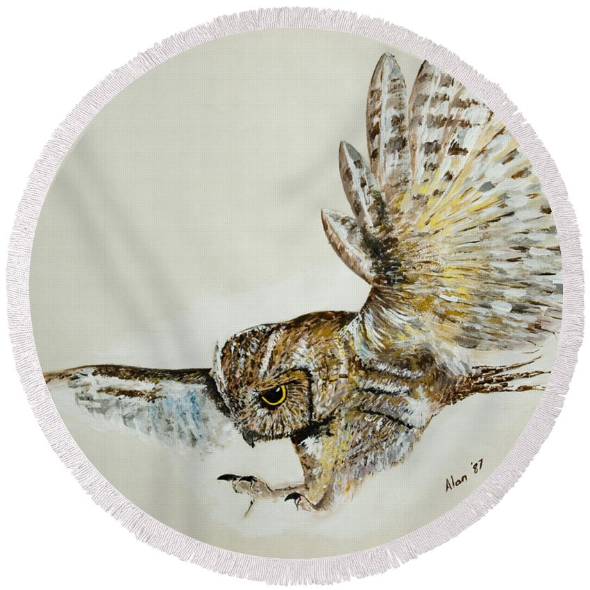 Feathers Round Beach Towel featuring the painting Owl In Flight by Alan Pickersgill