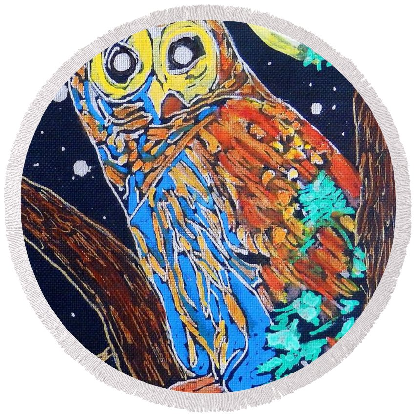 Owl Canvas Print Round Beach Towel featuring the painting Owl Light by Jayne Kerr