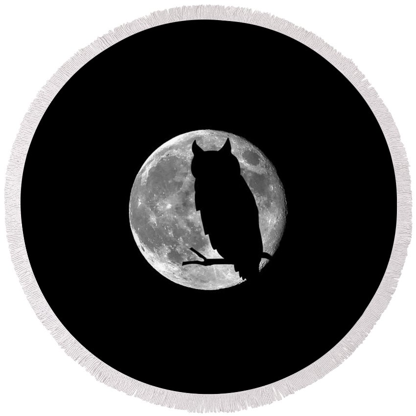 Moon Round Beach Towel featuring the photograph Owl Moon .png by Al Powell Photography USA
