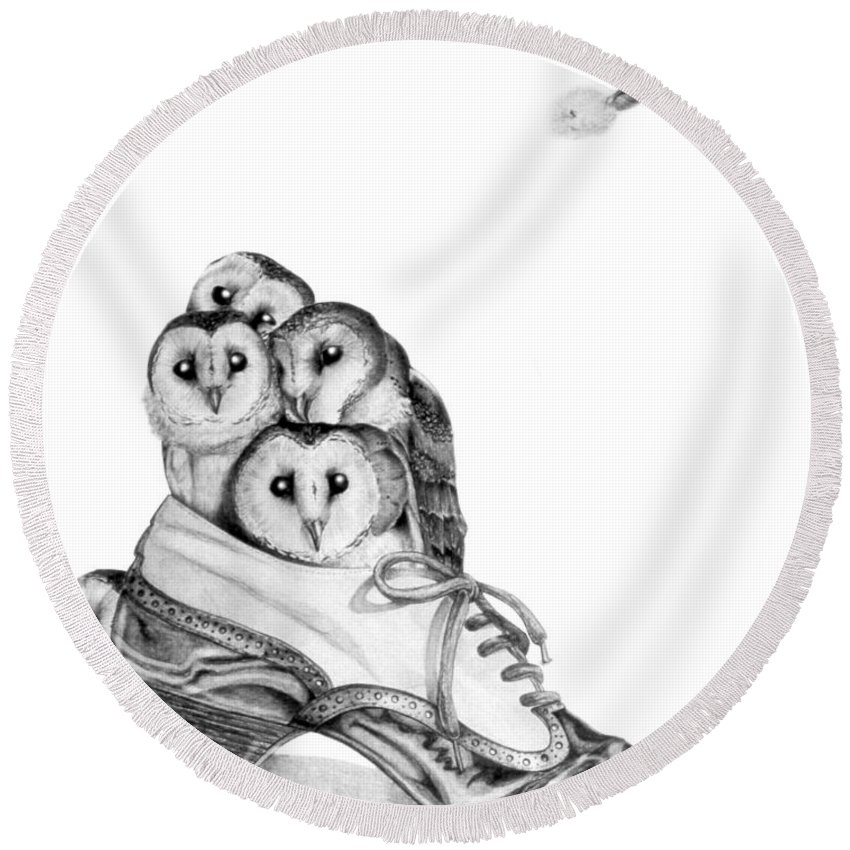 Owl Round Beach Towel featuring the painting Owls in a Shoe by Melissa A Benson