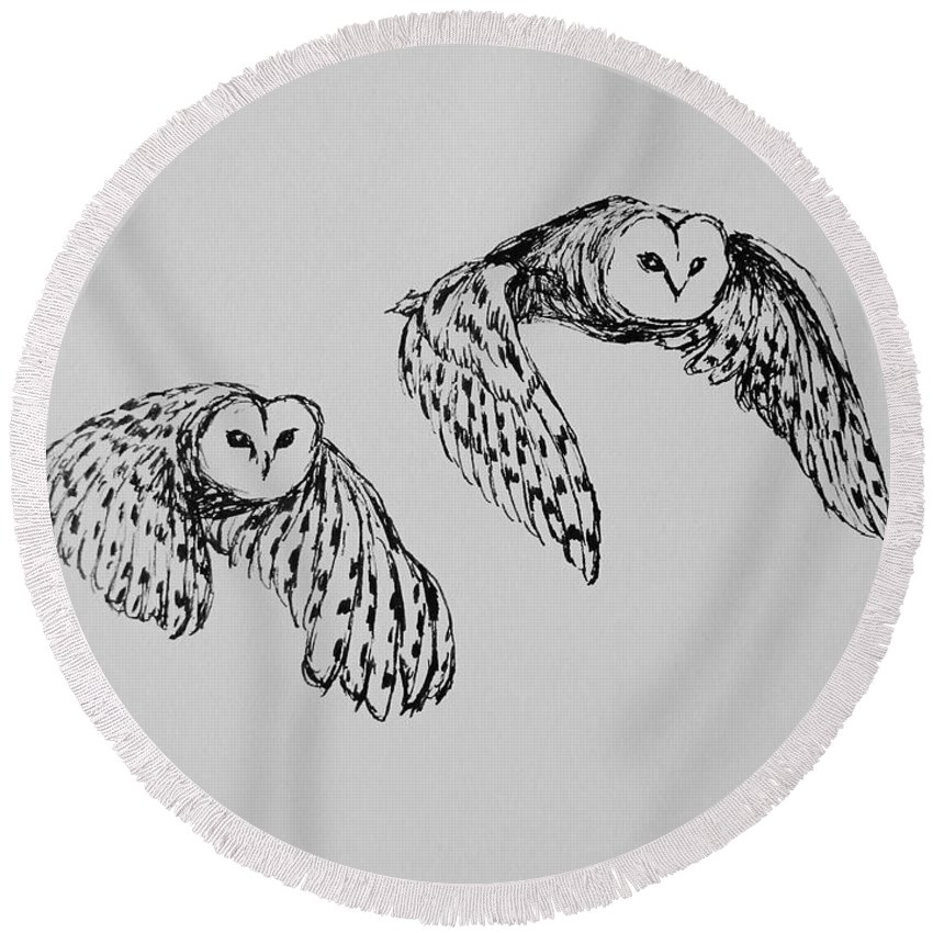 Owls Round Beach Towel featuring the drawing Owls In Flight by Victoria Lakes