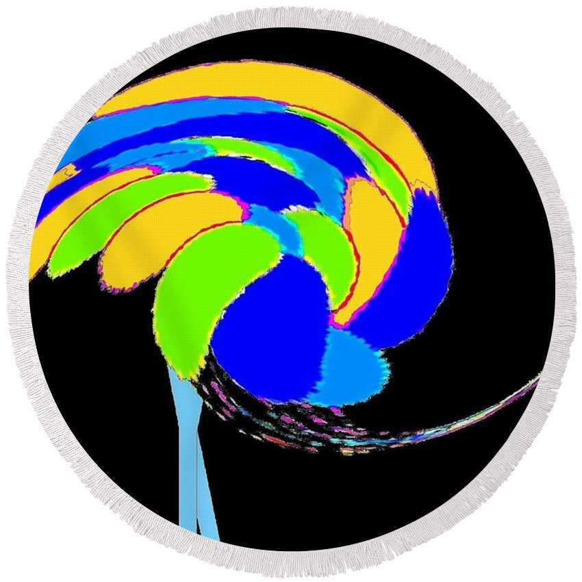 Abstract Round Beach Towel featuring the digital art Ozzie The Ostrich by Will Borden