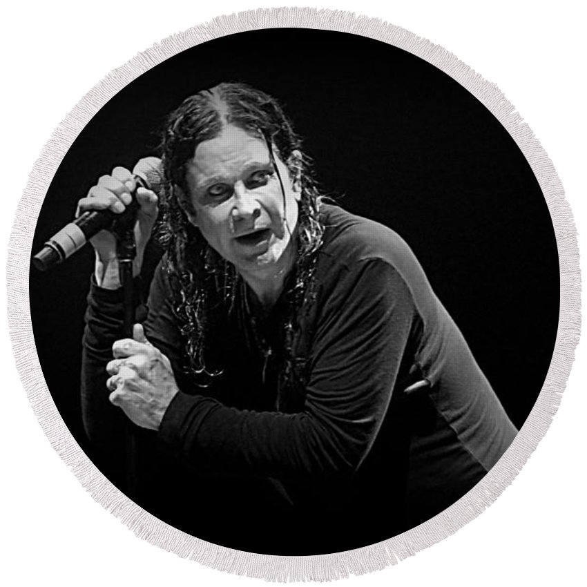 Ozzy Round Beach Towel featuring the photograph Ozzy by Adrian Cooch