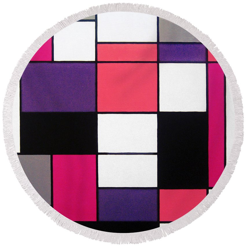 Piet Round Beach Towel featuring the painting P Cubed by Oliver Johnston