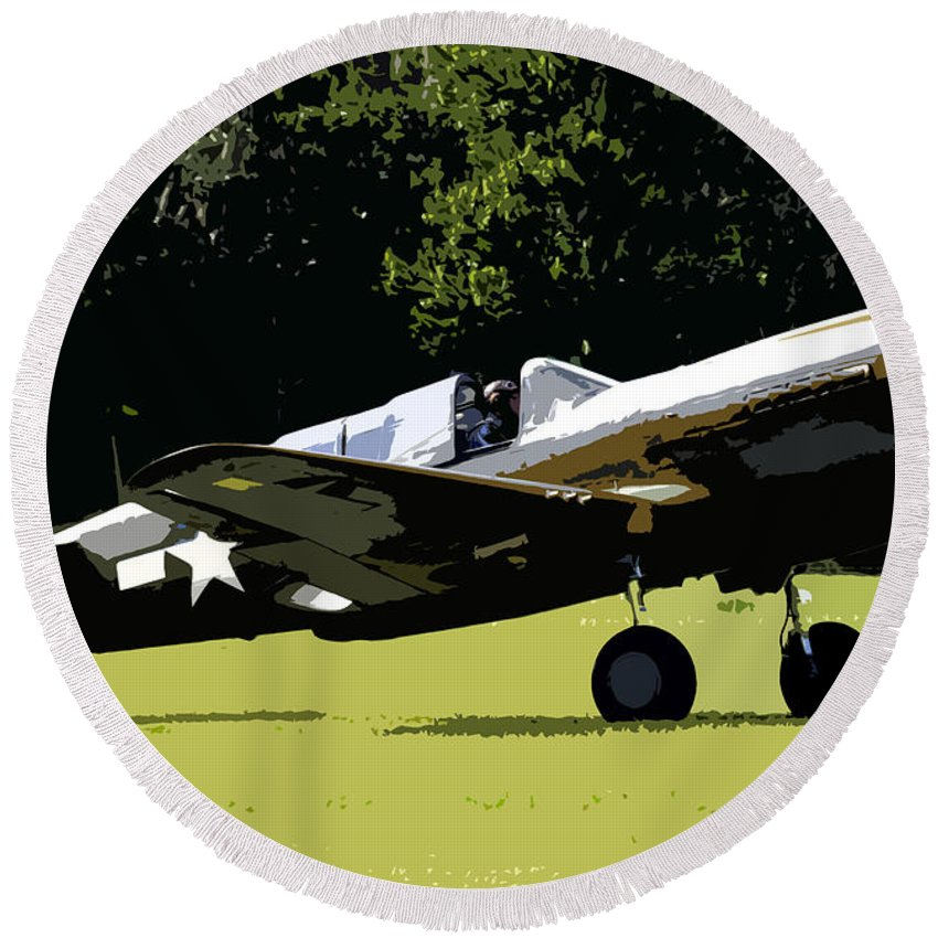 P 40 Round Beach Towel featuring the painting P40 Take Off by David Lee Thompson