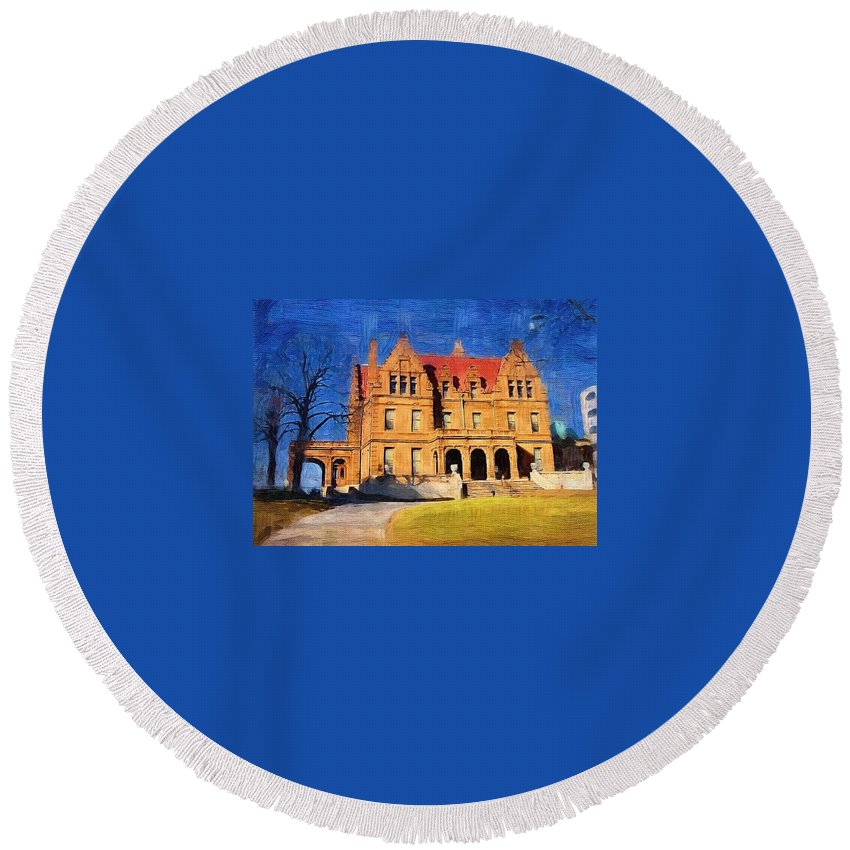 Architecture Round Beach Towel featuring the digital art Pabst Mansion by Anita Burgermeister