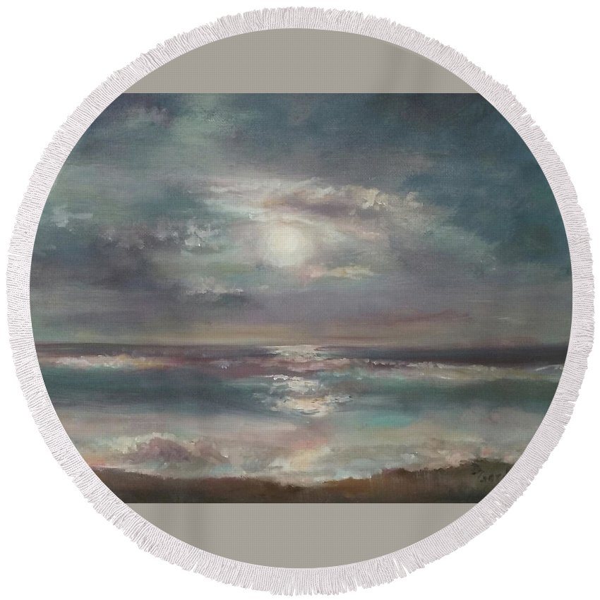 Seascape Round Beach Towel featuring the painting Pacific Beach by Dianne L Gardner