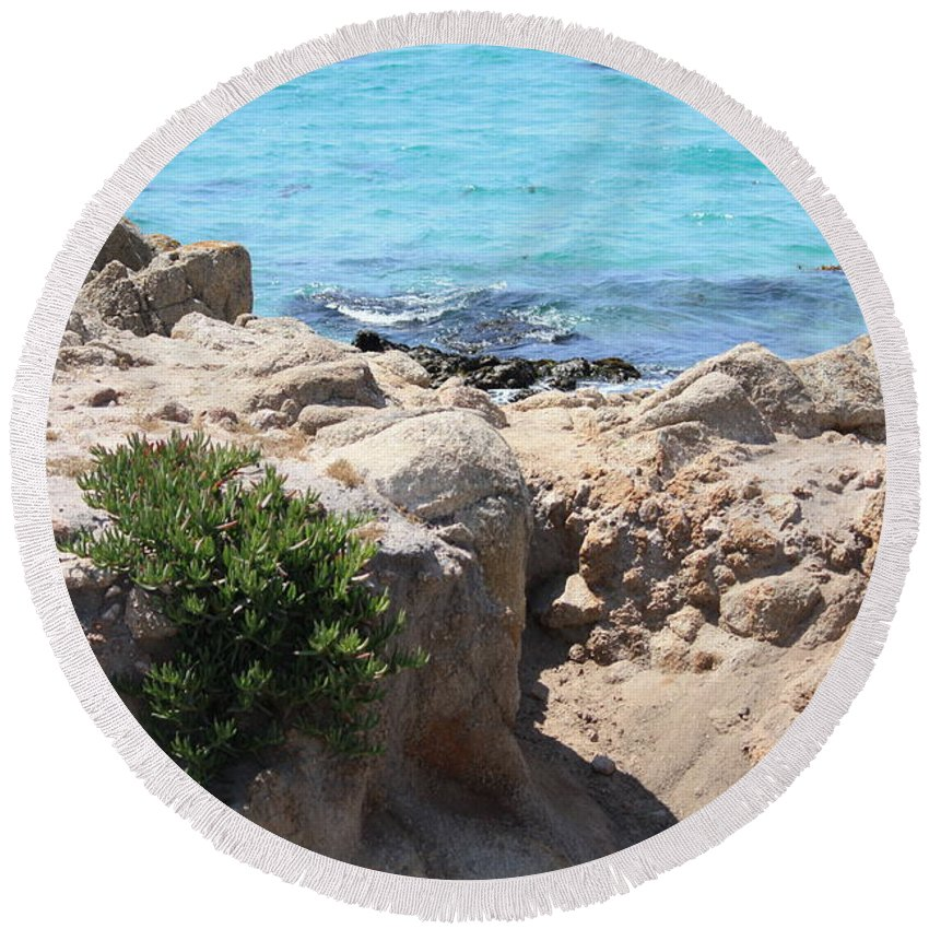 California Round Beach Towel featuring the photograph Pacific Blue by Carol Groenen